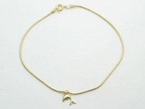 Tornozeleira Com Golfinho Folheado A Ouro Rommanel 550386