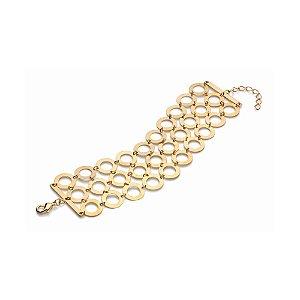 Pulseira de Círculos Vazados Folheado A Ouro Rommanel 550661