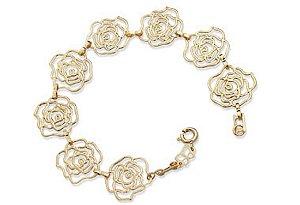 Pulseira de Rosas Vazadas Folheada A Ouro Rommanel 550765