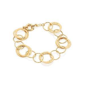 Pulseira De Círculos Folheado A Ouro Rommanel 550788