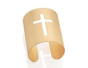 Bracelete Com Cruz Vazada Folheado A Ouro Rommanel 551169