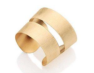 Bracelete Escovado E Vazado Folheado A Ouro Rommanel 551170