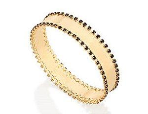 Bracelete Cristais Negros Folheado A Ouro Rommanel 551173