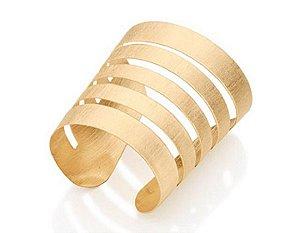 Bracelete Largo escovado Rommanel Folheado A Ouro 551205