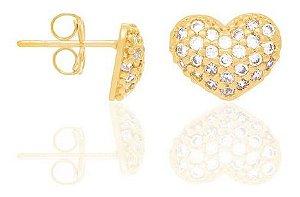 Brinco Coração Com Zircônios Folheado A Ouro Rommanel 523989