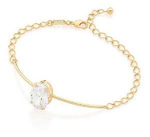 Bracelete Folheado A Ouro Rommanel Com Zircônia 551649