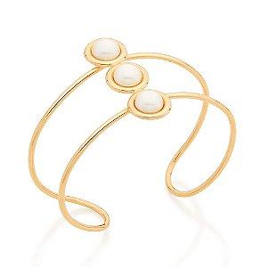 Bracelete duplo Folheado A Ouro Rommanel com Pérolas 551644