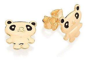 Brinco Infantil Folheado A Ouro Rommanel Urso Panda 526388