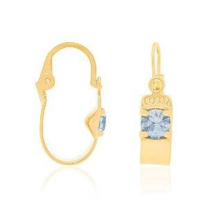 brinco argola infantil com cristal Rommanel Folheado a ouro