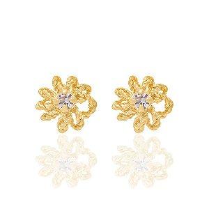 brinco flor de cristal Rommanel Folheado a ouro