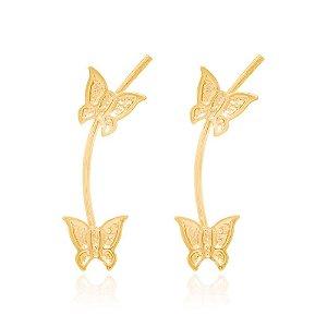 brinco grampo com borboletas Rommanel Folheado a ouro
