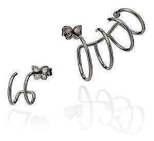 Brinco Ear Cuff Rommanel Folheado A Rhodium Negro 420048