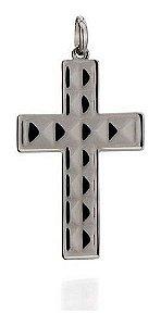 Crucifixo Masculino Rommanel Folheado A Rhodium Negro 440007