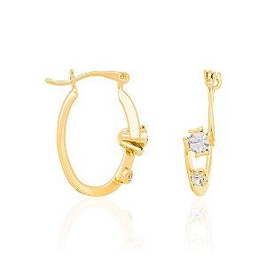 Brinco Argola Com Cristal Folheado A Ouro Rommanel 522509