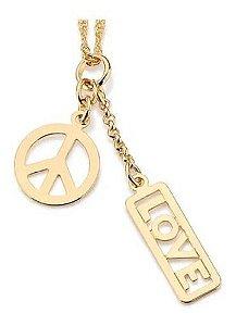 Pingente Paz E Amor Folheado A Ouro Rommanel 541574