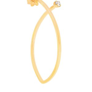 Brinco Navete Rommanel  Folheado A Ouro E Cristal (523954)