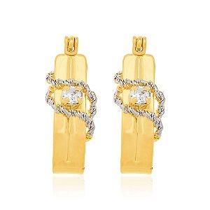 Brinco Argola Com Cristal Folheado A Ouro Rommanel 520907