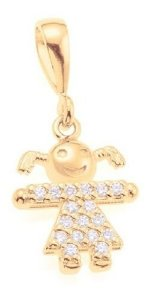 Pingente Menina De Zircônias Folheado A Ouro Rommanel 541618