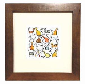 3001M-031 Quadro decor madeira - Gatos