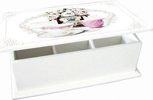 6004-002 Caixa de chá 6 divisórias - Rosas
