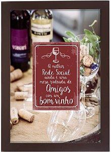 3060G-004 Quadro Rolha - Amigos e vinho