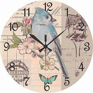 1604 Relógio Redondo -Pássaro azul