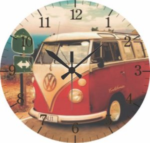 1616 Relógio Redondo - Kombi vermelha