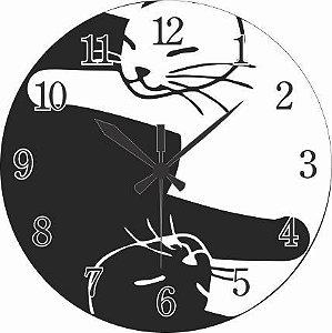 1700-029 Relógio Redondo - Gatos juntos