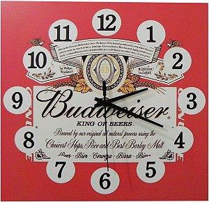 1600-Q30-004 Relógio Quadrado - Budweiser