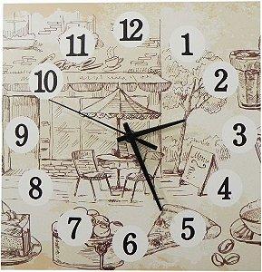 1600-Q30-005 Relógio Quadrado - Café