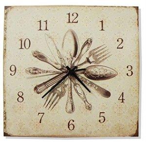 1600-Q30-006 Relógio Quadrado - Talheres
