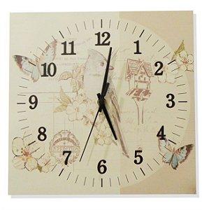 1600-Q30-008 Relógio Quadrado - Pássaro azul
