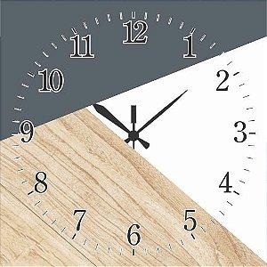 1600-Q30-017 Relógio Quadrado - Madeira