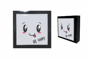 07-04-P027 Cubo Decor Preto - Happy