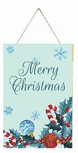 1759-Q020 Placa de madeira - Merry Christmas