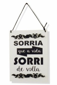 1758-007 Placa decor - Sorri de volta