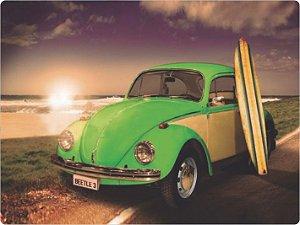 1216 Placa de Metal - Fusca Verde