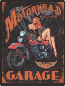 1227 Placa de Metal - Moto Garage