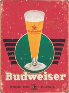 1242 Placa de Metal - Budweiser tulipa