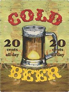 3442 Placa de Metal - Cold Beer