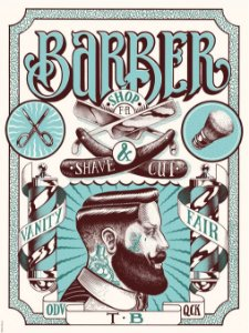 3570 Placa de Metal - Barber Shop Blue