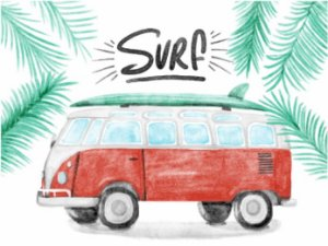 3579 Placa de Metal - Surf kombi