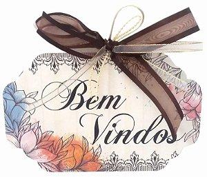 1702-002 Placa MDF - Bem vindos floral vintage