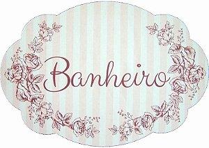 1704G Placa MDF - Banheiro rosa listras