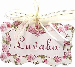 1706-002 Placa MDF - Lavabo floral rosa
