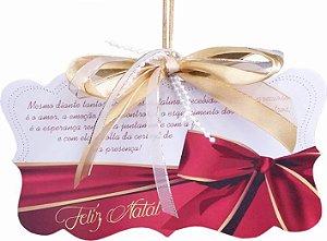 1788 Placa MDF - Natal laço vermelho