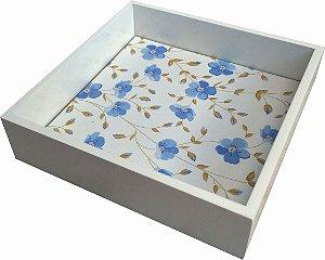 02-35 Bandeja laqueada - Flores azuis