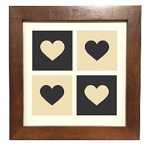 3004M-009  Quadro decor madeira - Corações