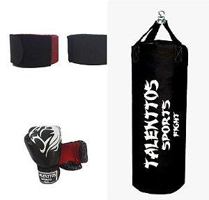 kit boxe muay thai luvas+saco de (01metro de altura por (01 metro de diâmetro+bandagens