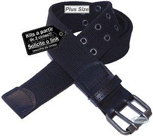 Cinto Plus Size Masculino Lona Premium 2 Bordas 4cm L39 Pto